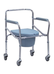 Media6 Foldable Commode with Wheels, 696-46, Silver/Blue