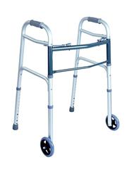Media6 Adjustable Height Aluminum Folding Walker with Wheels, Silver/Blue