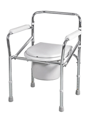Media6 Foldable Standard Commode Chair, Silver/White