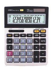 Deli E1671C 14 Digit Calculator, Silver