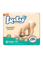 Lody Baby Premium Comfort Diapers, Size 5, Junior, 11-25 kg, Jumbo Pack, 46 Count