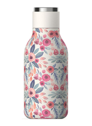 Asobu 16oz Urban Insulated & Double Walled Stainless Steel Bottle, ASB-SBV24P, Floral, White/Pink