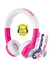 BuddyPhones Unicorn Foldable 3.5mm Jack On-Ear Headphones with Mic, Pink