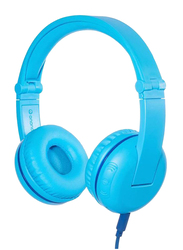 BuddyPhones Play Bluetooth Wireless On-Ear Headphones with Mic, for Kids, Blue