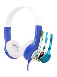 BuddyPhones Connect 3.5mm Jack On-Ear Headphones, Blue