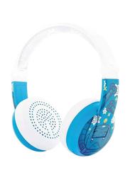 BuddyPhones Wave Bluetooth On-Ear Waterproof Headphones with Mic, Robot Blue