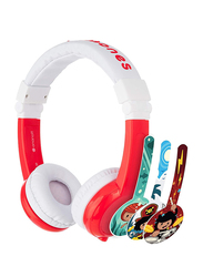 BuddyPhones Explore Foldable Wireless On-Ear Headphones, with Mic, Red