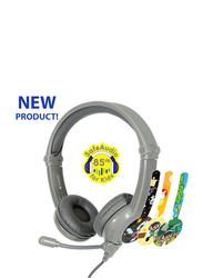 BuddyPhones Galaxy 3.5mm Jack On-Ear Gaming Headphones, with Mic, Grey