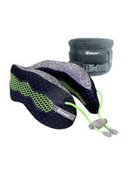 Cabeau Evolution Memory Foam Travel Pillow with Deluxe Travel Bag, Sublime Grey Diamond/Black Dots