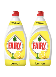 Fairy Lemon Dishwashing Liquid Soap, 2 Bottles x 750ml