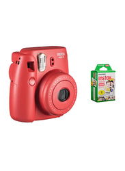 FujiFilm Instax Mini 8 Instant Film Camera, With 60mm f/12.7 Lens, 30.4 MP, With Pack Of 10 Film Sheets, Red