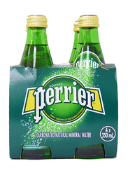 Perrier Sparkling Mineral Water, 4 Glass Bottle x 330ml
