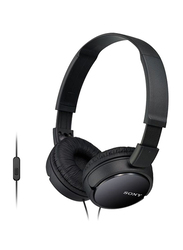 Sony Wired On-Ear Headphones with Mic, MDR-ZX110AP, Black