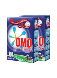 Omo Active Auto Effective Stain Removal Powder Detergent, 2 Pieces x 2.5 Kg