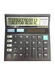 Gosmart CT-512 Twelve Digit Calculator, Black