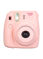 FujiFilm Instax Mini 8 Instant Film Camera, With 60mm f/12.7 Lens, 30.4 MP, With Leather Case and 20 Film Sheets, Pink