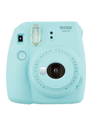 FujiFilm Instax Mini 9 Instant Film Camera, with 60mm f/12.7 Lens, With Leather Bag and 10 Film Sheets, Blue