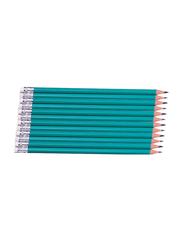 12-Piece Wood Free HB 2 Pencil Set, Green