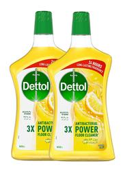 Dettol Lemon Anti-Bacterial Power Floor Cleaner, 2 Bottles x 900ml