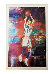 Decorative Mixed Media Basketball Player Canvas Painting, Multicolor