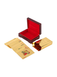 54-Piece 24K Carat Gold Foil Plated Playing Card With Wood Box Set Card Game, Gold