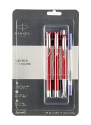 Parker 3-Piece Fine Point Fountain Pen Set, Red/Silver