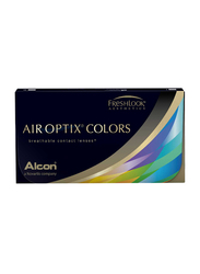 Air Optix Colors Monthly Pack of 2 Contact Lenses without Power, Brilliant Blue, 0.00