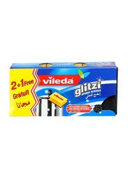 Vileda Glitzi Sponge Scourer, Yellow/Black, 3 Pieces