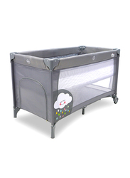 Asalvo Clouds Smooth Travel Cot, Grey