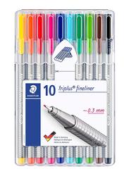 Staedtler Triplus Fineliner 0.3mm Pen Set, 10 Pieces, 334-SB10, Multicolour
