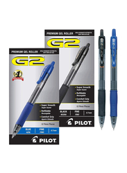 Pilot 24-Piece G2 Retractable Premium Gel Ink Fine Point Rollerball Pen Set, 0.7mm, Black/Blue