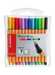 Stabilo 12-Piece Point 88 Ballpoint Mini Fineliner Set, Multicolour
