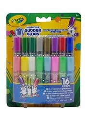 Crayola Washable Glitter Glues, 16 Pieces, CY694200, Multicolor