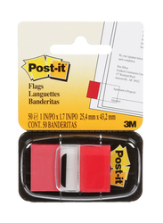 Post-it 3M Flags Sticky Notes, 50 Flags, 2.54 x 4.32cm, 680-1, Red