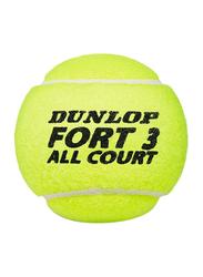 Dunlop Fort All Court Tennis Balls, DL601315, 3 Piece, Yellow