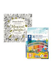 Staedtler 37-Piece Noris Aquarell Watercolour Pencil Set with Colouring Book, Yellow/Red/Blue
