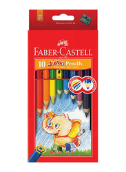 Faber-Castell 10-Piece Jumbo Extra Thick Colour Pencil Set with Sharpener, Multicolor