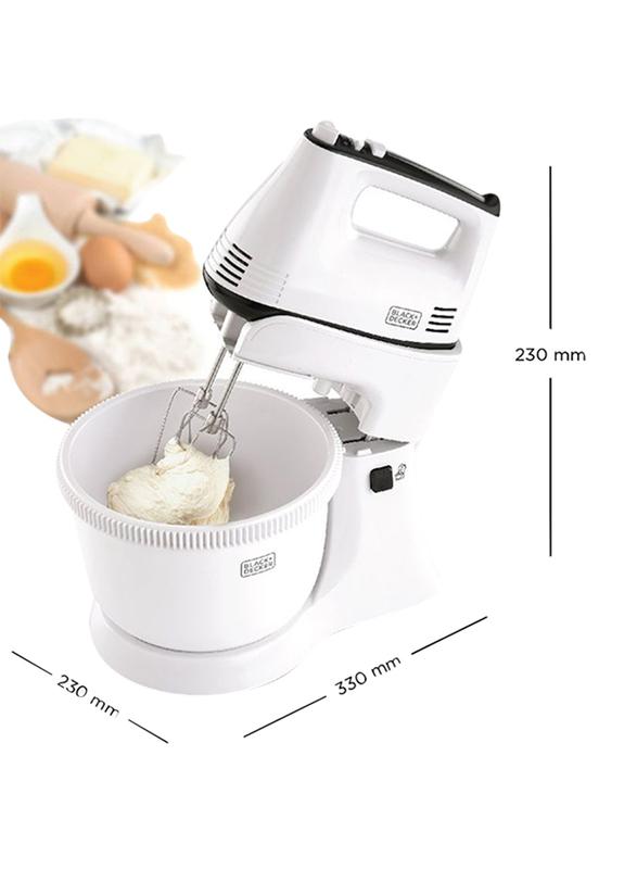 Black+Decker Hand Mixer, 300W, M700, White/Grey