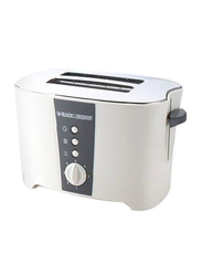 Black+Decker Bread Toaster 2 Slice with Crumb Tray, ET122-B5, White/Grey