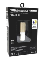 Jellico Dual Port USB Car Charger, Gold