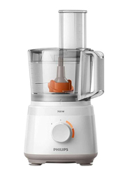 Philips 2.1L Daily Collection Compact Food Processor, 700W, HR7320/01, White/Clear/Orange