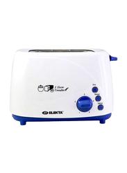 Elekta 2 Slice Toaster with 3 Functions, 800W, ET-252MKI, Blue/White