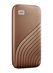 Western Digital 500GB My Passport External Portable Solid State Drive, USB 3.2, Up to 1050 MB/s Solid State Drive, Gold