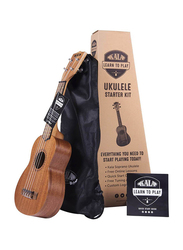 Kala Soprano Starter Kit LTP S Ukulele, Rosewood Fingerboard, Natural Beige