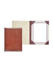 FIS Italian PU Certificate Folders with A4 Certificate & Gift Box, FSCLCERTPUVCBR, Brown