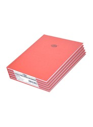 FIS Neon Hard Cover Single Line Notebook Set, 5 x 100 Sheets, A4 Size, FSNBA4N250, Red