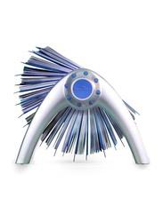 Durable Visifix Business Card Holder, DUNC2417-23, Metallic Silver/Blue