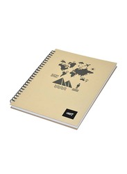 Light 5-Piece Spiral Hard Cover Notebook, Single Line, 10 x 8 inch, 100 Sheets, LINBS1081805, Beige