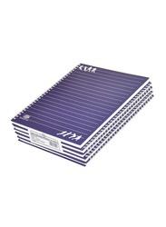 FIS Spiral Hard Cover Single Line Notebook Set, 5 x 100 Sheets, 10 x 8 inch, FSNBS1081905, Dark Blue