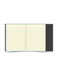 FIS Italian PU Cover Magnetic Folder with Single Ruled Ivory Paper Writing Pad and Gift Box, 96 Sheets, A4 Size, FSMFEXNBA4LBL, Light Blue